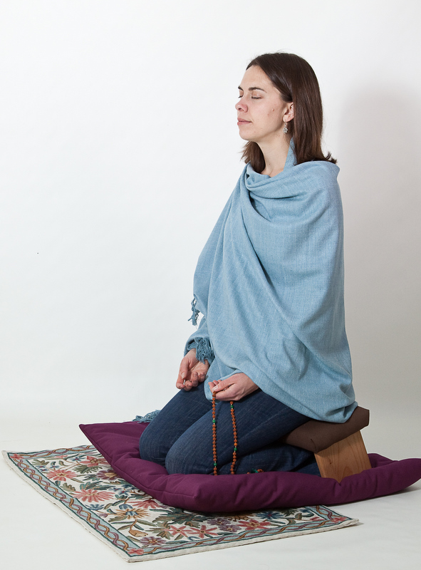 meditating using a meditation bench, shawl and zabuton
